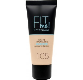 Fond de teint Maybelline Fit Me Matte & Poreless en tube, n°105 Natural Ivory, en lot de 6p, neuf sans blister