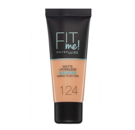 Fond de teint Maybelline Fit Me Matte & Poreless en tube, n°124 Soft Sand, en lot de 6p, neuf sans blister