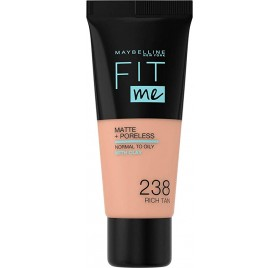 Fond de teint Maybelline Fit Me Matte & Poreless en tube, n°238 Rich Tan, en lot de 6p, neuf sans blister